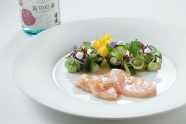 Hamachi - Hamachi,Aji, grüne Tomate, Jalapeño, Holunderblüte und Yuzu
