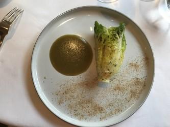 Romana Salat - Romana Salat, Tomatenwasser, Holunderblütenhonig, Kapern, Berghonig, getrocknete Mairitterlinge